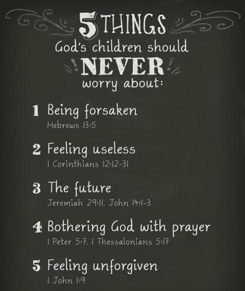 Nunca temas: ser olvidado, ser inutil, del futuro, molestar a Dios on plegarias, ser culpable.